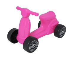 gåbil sparkbil plasto scooter med tysta hjul rosa