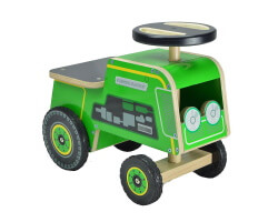 gåbil traktor kiddimoto trä grön