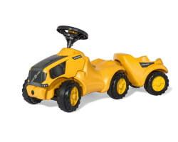 sparkbil traktor gul volvo med släp
