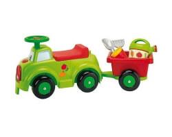 ecoiffier gåbil med trailer och tillbehör grön