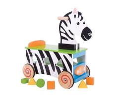 gåbil zebra trä med klossar vit svart