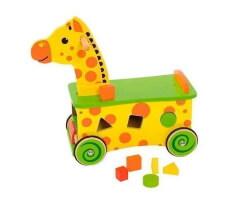 giraff gåbil i trä gul grön