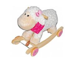 gunghäst gåbil 2 in 1 lamm med ljud vit rosa