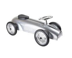 small foot sparkbil silver rally style push along car racerbil gåbil