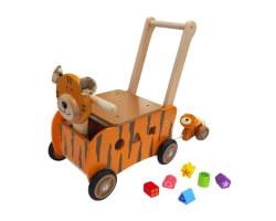 toy running pushing tiger lära gå bil i trä orange