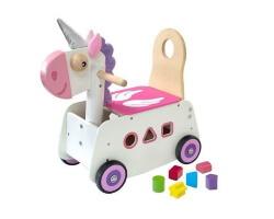 toy running pushing unicorn gåbil