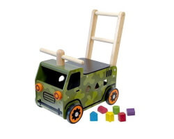 toy walk and push truck army truck gåbil grön