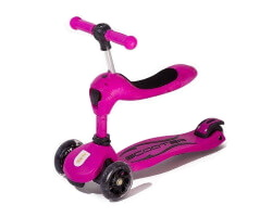 twix scooter med sits gåbil 2 in 1 rosa sparkcykel