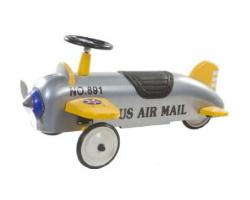 gåbil flygplan retro roller silver