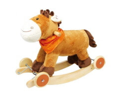 gåbil gunghäst 2 in 1 i trä häst brun