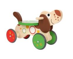 gåbil i trä hund - träfärgad brun