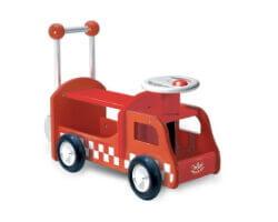 gåbil i trä vilac brandbil röd