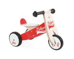 gåbil trä bikloon springcykel röd