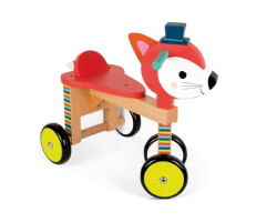 gåbil trä janod fox ride on car