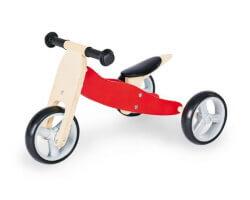gåbil trehjuling pinolino trä natur röd