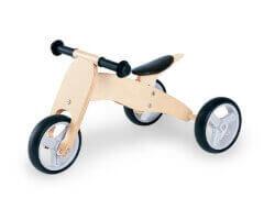 gåbil trehjuling pinolino trä träfärgad natur