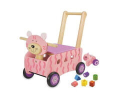 lära gå bil trä rosa katt toy walk and pushcart cat pink