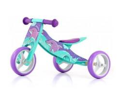 trehjuling 2 in 1 delfin trä springcykel