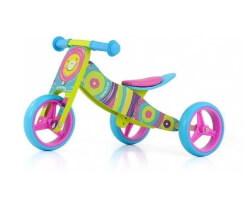 trehjuling 2 in 1 regnbåge trä springcykel