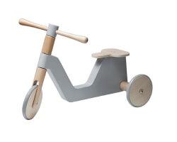 trehjuling trä sebra scooter grå