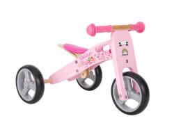 trehjuling trä 2 in 1 mini springcykel flamingo pink bikestar